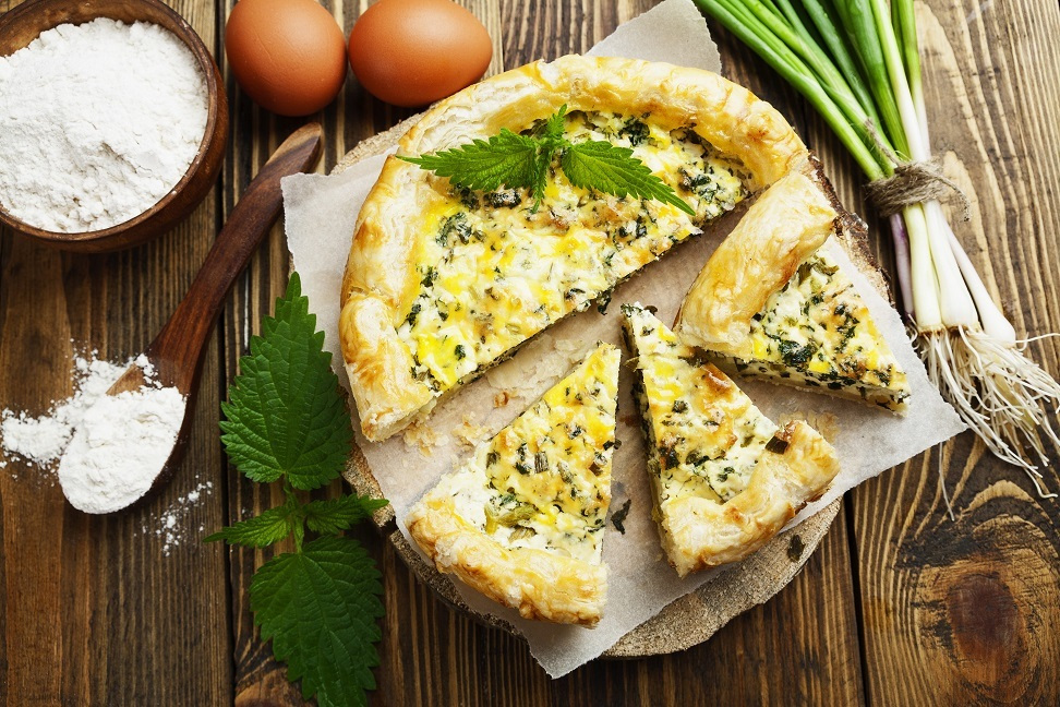 Spring Onion and Nettle Quiche