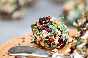 Cranberry, Pecan and Goat Cheese Bites