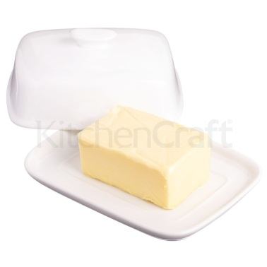 KitchenCraft White Porcelain Covered Butter Dish