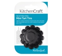 Kitchen Craft Set of Four Non-Stick Mini Fluted Tart Tins