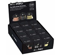 AnySharp Display of 12 Metallic Coloured Knife Sharpener Pro