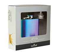 BarCraft Exotic Rainbow Hip Flask with Easy Pour Funnel
