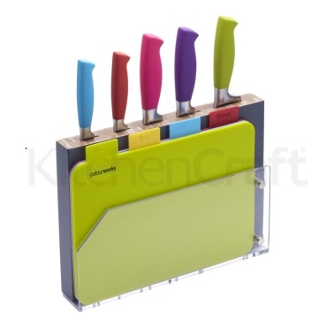 Colourworks 9 Piece Chopping Board and Knife Block Set