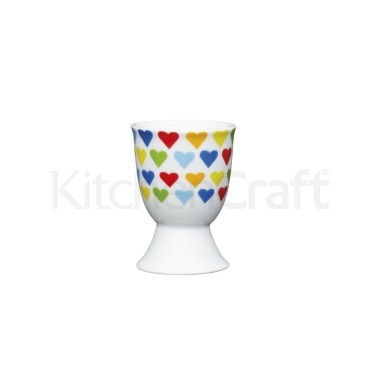 KitchenCraft Brights Hearts Porcelain Egg Cup