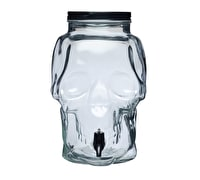 Spookily Does It Glass Skull Drinks Dispenser with Pouring Tap