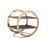 Artesà 2-Tier Geometric Brass Coloured Serving Stand with Slate Serving Platters