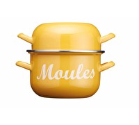 KitchenCraft World of Flavours 2.5 Litre Yellow Enamel Mussel Pot
