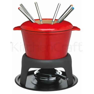 Master Class Cast Iron Enamelled Red Fondue Set