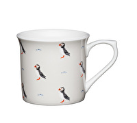 KitchenCraft Set of Four Fluted Fine Bone China Puffin Mugs