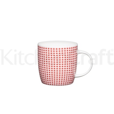 KitchenCraft Fine Bone China Red Gingham Barrel Mug