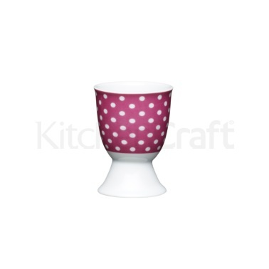 Kitchen Craft Pink Polka Dot Porcelain Egg Cup