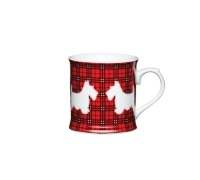 KitchenCraft Scottie Dog Fine Porcelain Red Tartan Mug