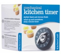 Kitchen Craft Black and Chrome Wind-Up 60 Minute Timer
