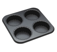 Master Class Non-Stick Four Hole Loose Base Fluted Mini Tartlet Pan