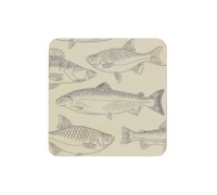 Kitchen Craft Fish Cork Back Laminated Set of 4 Coasters