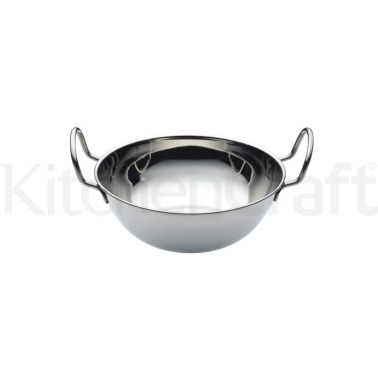 KitchenCraft World of Flavours Indian Stainless Steel Medium Balti Dish