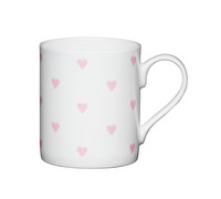 KitchenCraft Set of Four Bone China Pink Hearts Mini Mugs