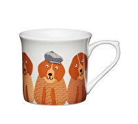 KitchenCraft Set of Four Fluted Fine Bone China Dogs Mugs