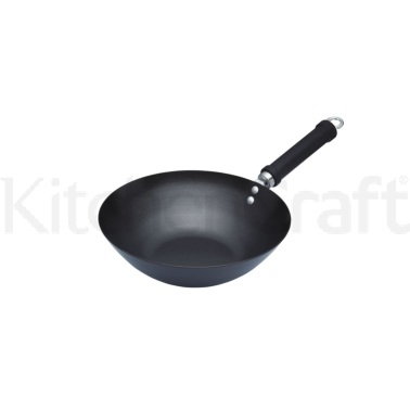 KitchenCraft World of Flavours Oriental Carbon Steel 26.5cm Non-Stick Wok