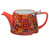 London Pottery Company Kaffe Fassett Oval-Filter Teapot with Infuser (Jewel Squares)