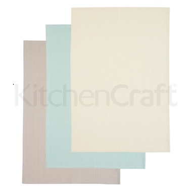 KitchenCraft Set of 3 Pastel Coloured Tea Towels