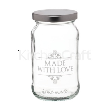 Bocal en verre traditionnel « Made with Love » 454ml