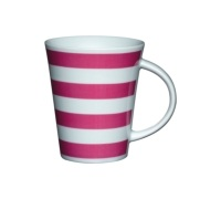 Kitchen Craft Fine Porcelain Pink Stripe Mug