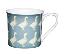 KitchenCraft Set of Four Fluted Fine Bone China Geese Mugs