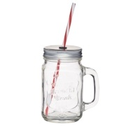 Home Made Traditional Glass Drinks Jar with Straw