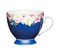 KitchenCraft Set of Four Bone China Blue Border Mugs