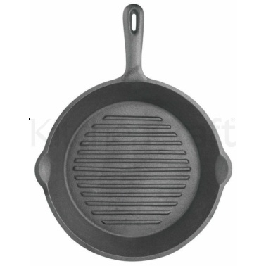 Kitchen Craft Deluxe Cast Iron 24cm Round Ribbed Grill Pan