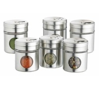Home Made Set of 6 Stainless Steel Spice Jars