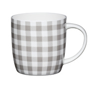 KitchenCraft Set of Four Fine Bone China Grey Gingham Mugs