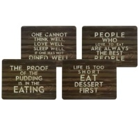KitchenCraft Slogan Cork Back Laminated Set of 4 Placemats