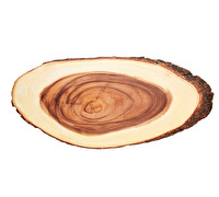 Artesà Serving Board Acacia with Bark Oval Tagged