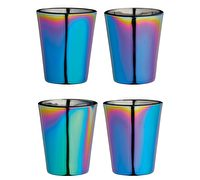 BarCraft Set of Four Metallic Finish Glass Shot Glasses