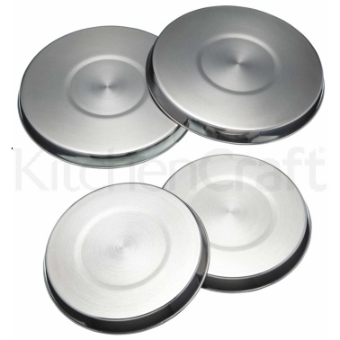 KitchenCraft Set of 4 Stainless Steel Hob Covers