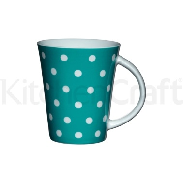 Kitchen Craft Fine Porcelain Teal Polka Mug