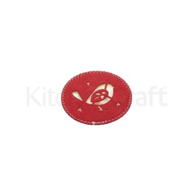 Little Red Robin Set of 4 Red & Cream 10cm Felt Coasters