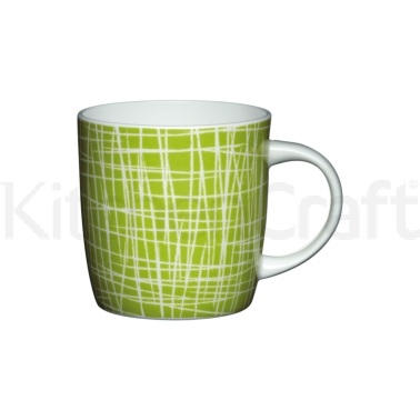 KitchenCraft Fine Bone China Green Crosshatch Barrel Mug
