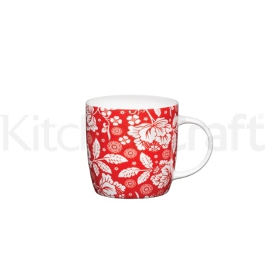 Kitchen Craft Fine Bone China Red Flower Barrel Mug