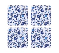Kitchen Craft Traditional Blue Cork Back Laminated Set of 4 Coasters
