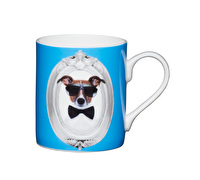KitchenCraft Set of Four Bone China Blue Dog Mini Mugs
