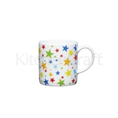KitchenCraft 80ml Porcelain Multi Stars Espresso Cup