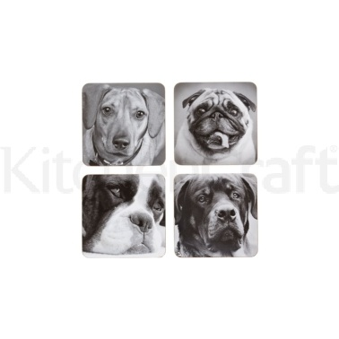 Kitchen Craft Dog Cork Back Laminated Set of 4 Coasters
