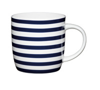 KitchenCraft Set of Four Fine Bone China Nautical Stripe Mugs