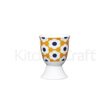 KitchenCraft Retro Flower Spot Porcelain Egg Cup