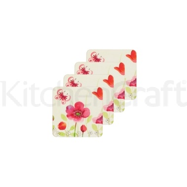 KitchenCraft Poppy Field Cork Back Laminated Set of 4 Coasters