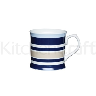 KitchenCraft Fine Porcelain Horizontal Stripe Mug