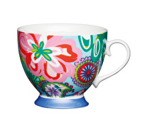 KitchenCraft Set of Four China Bright Floral Footed Mugs